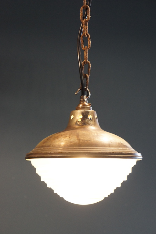 French Fresnel Art Deco Pendant Suspension Light Vintage Glass NZ So Vintage