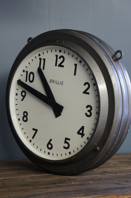 Clocks Brillie Grey Double Sided Factory Clock