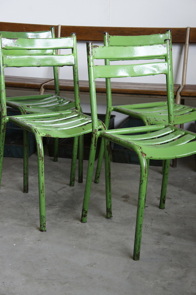 seating french metal cafe chairs green